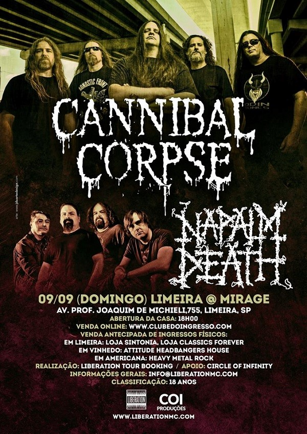 CANNIBAL CORPSE, NAPALM DEATH: 09/09/2018 - STUDIO MIRAGE - LIMEIRA - SP